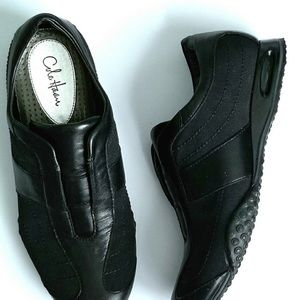 Cole Haan + Nike Air Black Leather Slip Ons Size 6